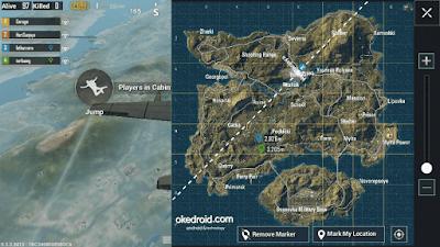 Selama di pesawat ,  kita dapat menandai tempat dengan fitur marker Game PUBG Mobile
