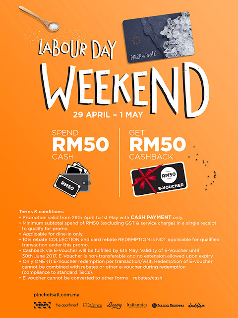 Pinch of Salt Loyalty Card Free Cashback E-Voucher Labour Day Weekend Promo