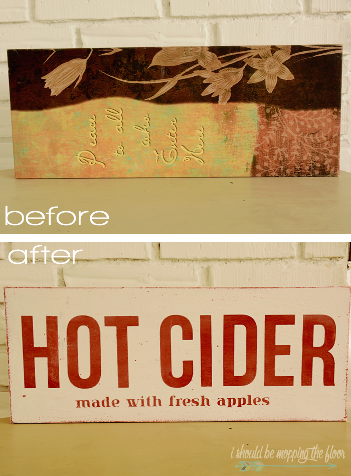 This DIY Hot Cider Sign was made from a thrift store canvas for inexpensive fall decor.