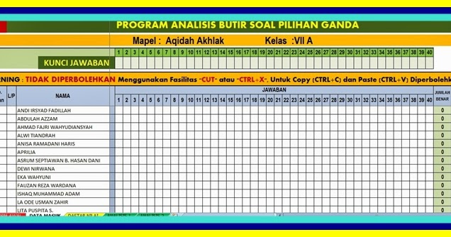 Download Analisis Butir Soal Kelas 1 Sd K13 Guru Paud