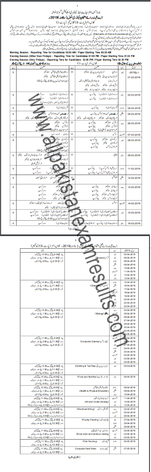 BISE Gujranwala 10th Class Date Sheet 2019