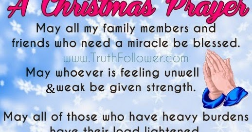 a christmas prayer for family and friends