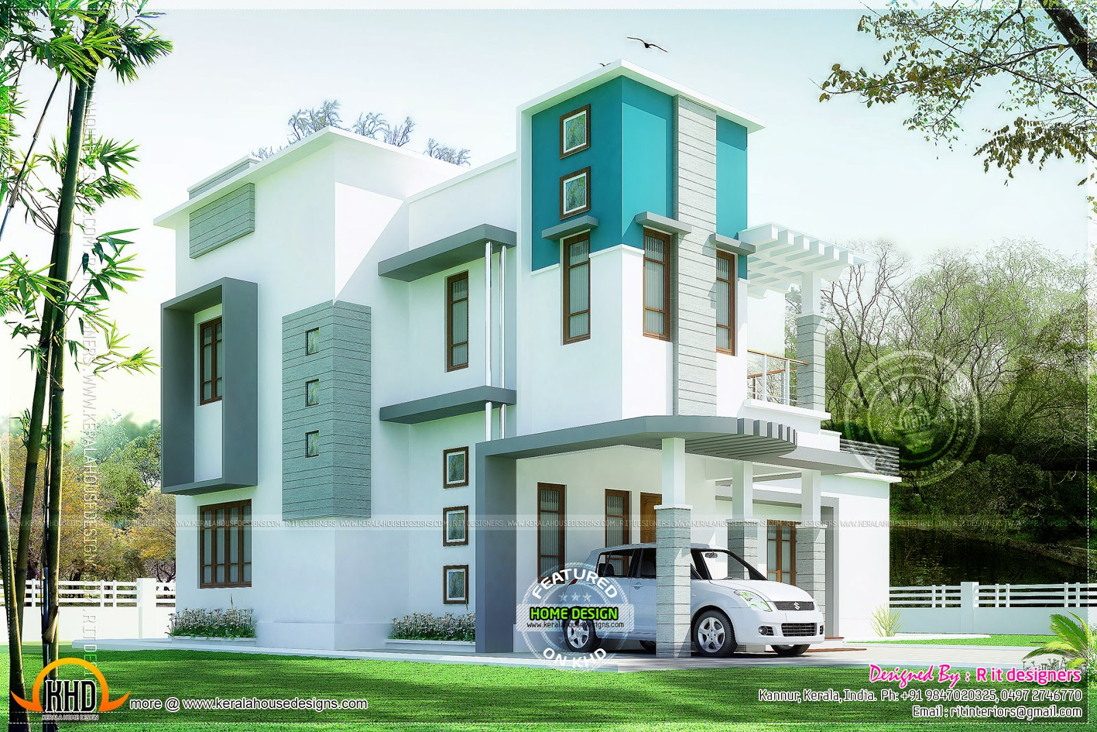 Beautiful 3 bedroom modern house kerala home design and for Modern 3 bedroom house
