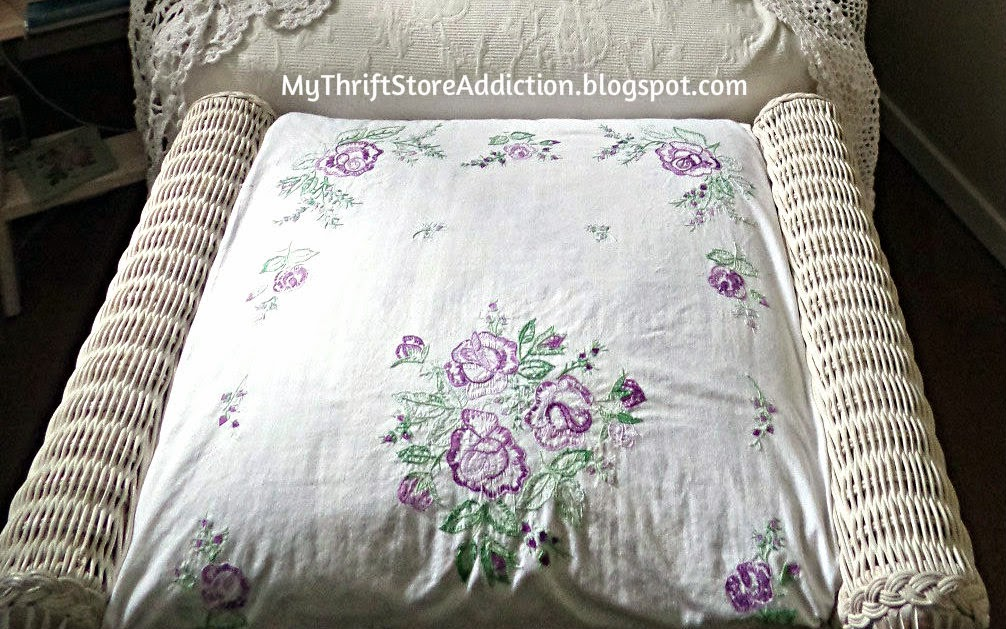 Lacy vintage linen slipcover