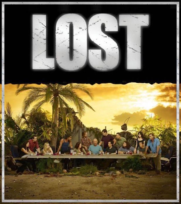 Lost show logo above promo image of main characters posed at long table in homage to Leonardo da Vinci's Last Supper