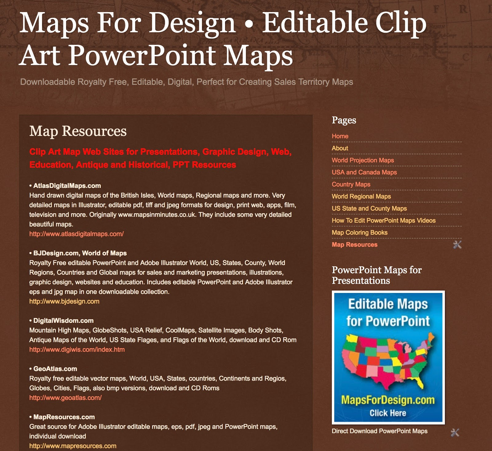 we are please to announce our new map resources page on our mapsfordesign blog this resources includes clip art and map presentation websites powerpoint