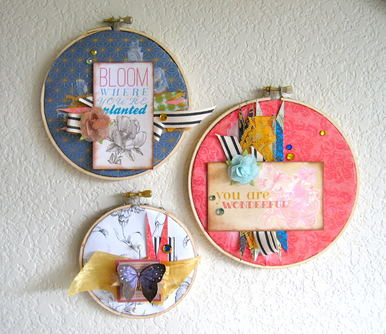Sei Lifestyle Hanging Embroidery Hoop Wall Decor Trio