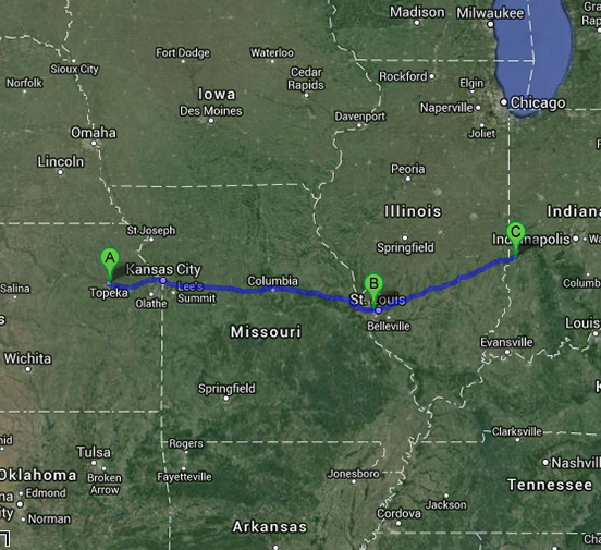 Topeka, Kansas to Terre Haute, Indiana
