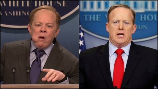 Watch Melissa McCarthy played Sean Spicer going nuts on the press in a SNL sketch.