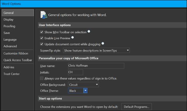 Aktifkan Tema Gelap di Microsoft Office