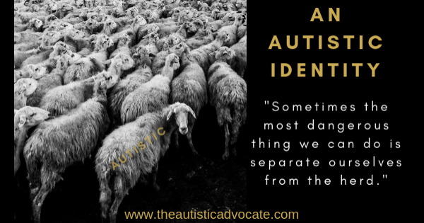 """Image description: A flock of sheep to the left, all facing forward apart from one at the back facing back to camera. The word 'Autistic' is stencilled onit's side. To the right is text: An Autistic Identity. Sometimes the most dangerous thing we can do is separate ourselves from the herd."""""""