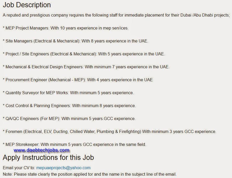 Mep Electrical Design Engineer Jobs In Dubai - Somurich com