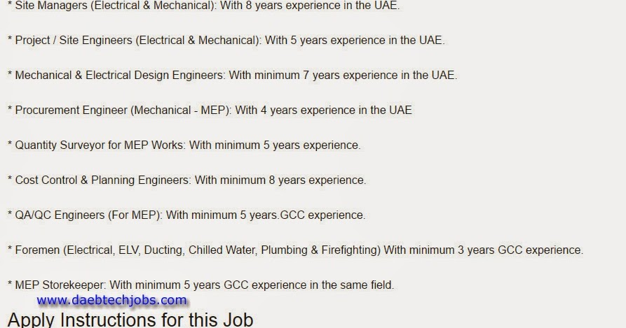 D A E B Tech Mechanical Civil Electrical Electronics Chemical Jobs