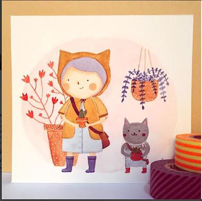 Ilustração de uma menina com capa de chuva com orelinhas de gatos. E do lado um gatinho.