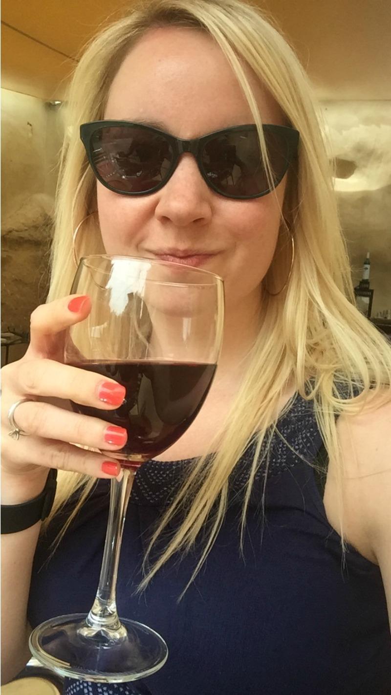 Drinking vino tinto in las cuevas, San Miguel