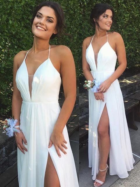 Vestido branco longo fenda