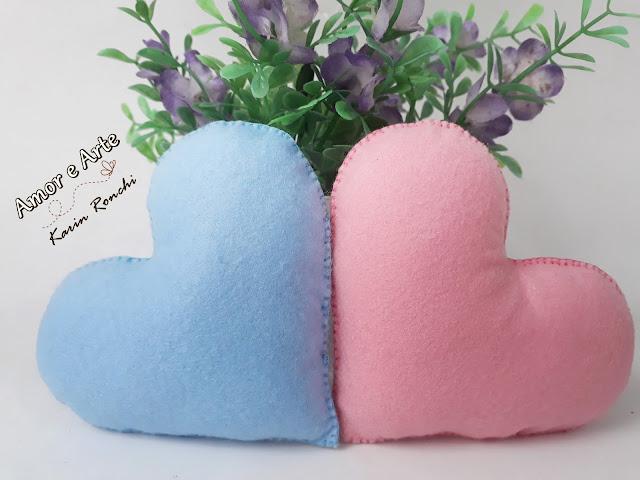 Corações Rosa e Azul