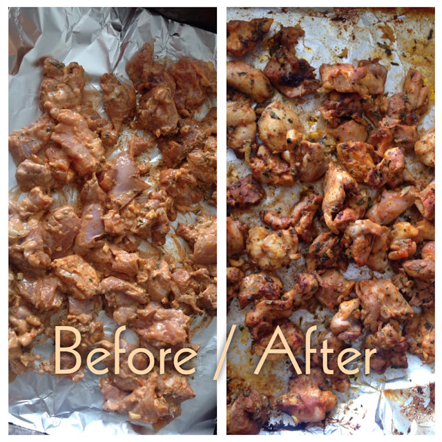 before and after marinaded chicken for curry