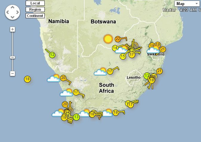 SA Weather and Disaster Observation Service: Weather Forecast for