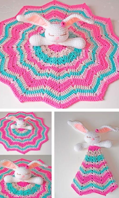 Amigurumi Baby Blanket Bunny -  Crochet Free Pattern