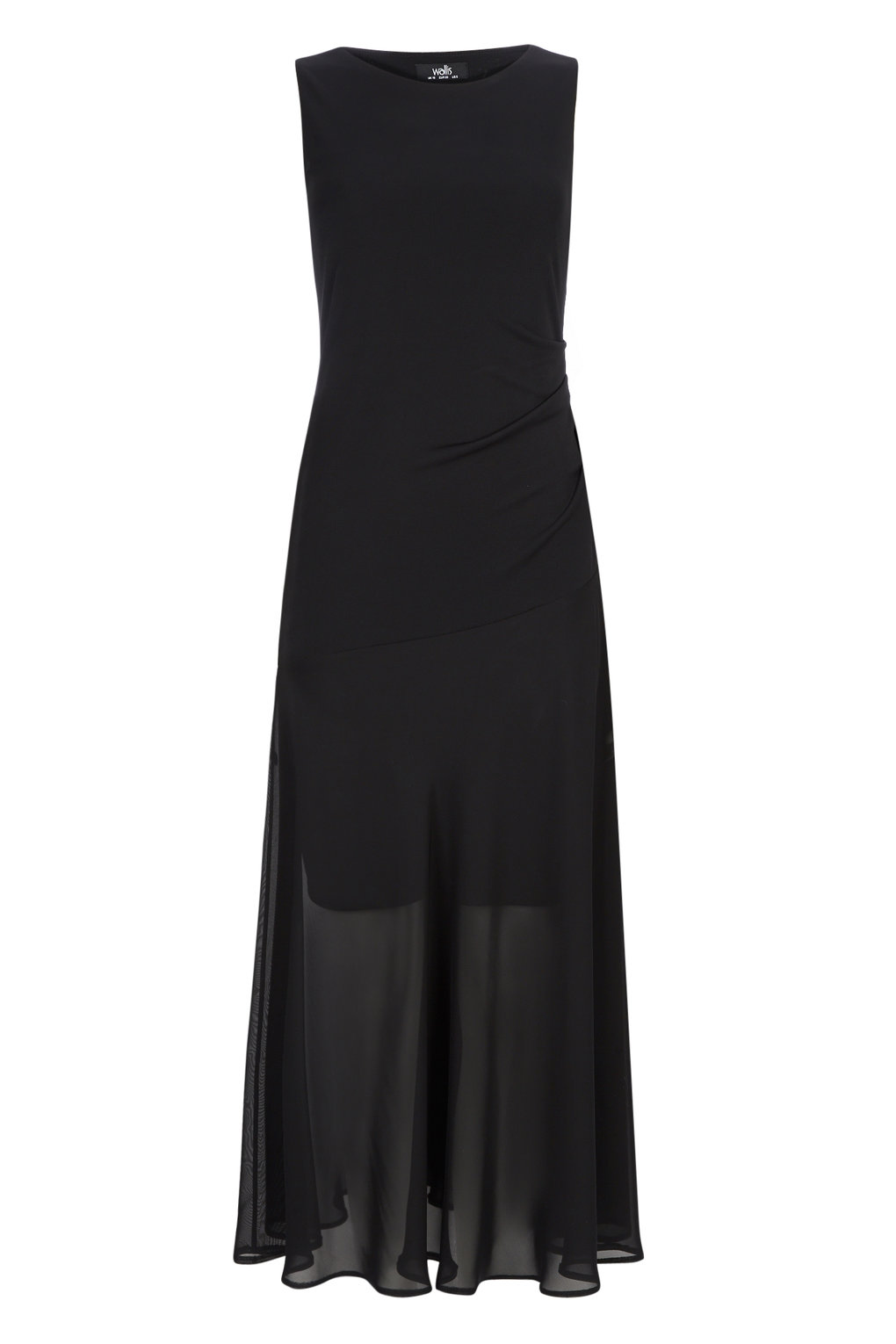 Wallis Full Length Black Chiffon Dress