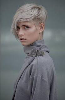 grey colored short hair