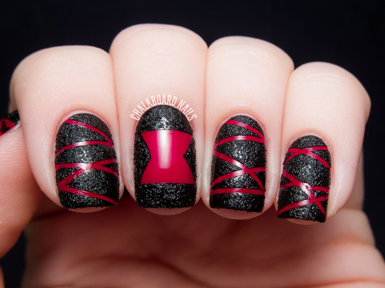 Black Widow Nail Art by @chalkboardnails