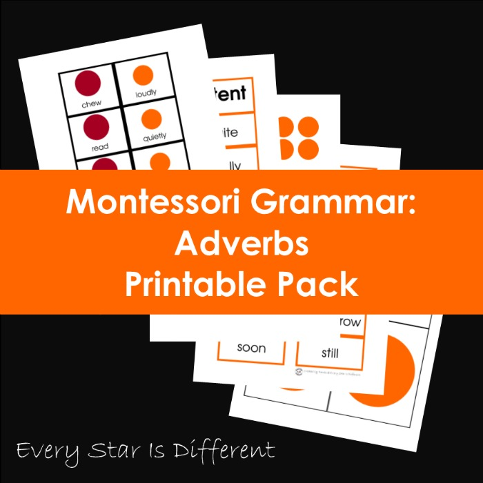 Montessori Grammar: Adverbs Printable Pack