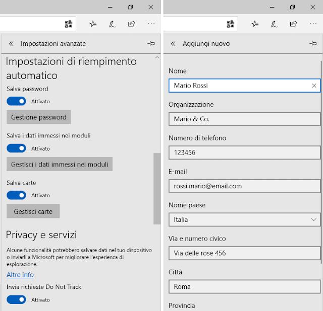 Microsoft Edge salvare i dati immessi nei moduli