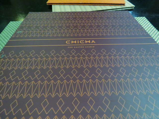 Menu of Chicha restaurant in Cusco Peru