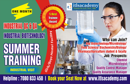 INDUSTRIAL BIOTECHNOLOGY Summer Training @ Rs.5000/-