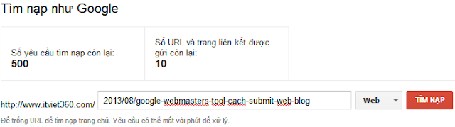 Google Webmasters Tool và cách Submit link bài viết Blog, Website