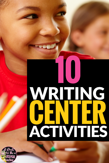 Need ideas + a freebie for getting writing centers started in your classroom? This post includes 10 simple writing activities you can add to your writing center, Daily 5 time, or literacy station. Perfect for 2nd and 3rd grade kids and teachers. #3 is my fave!