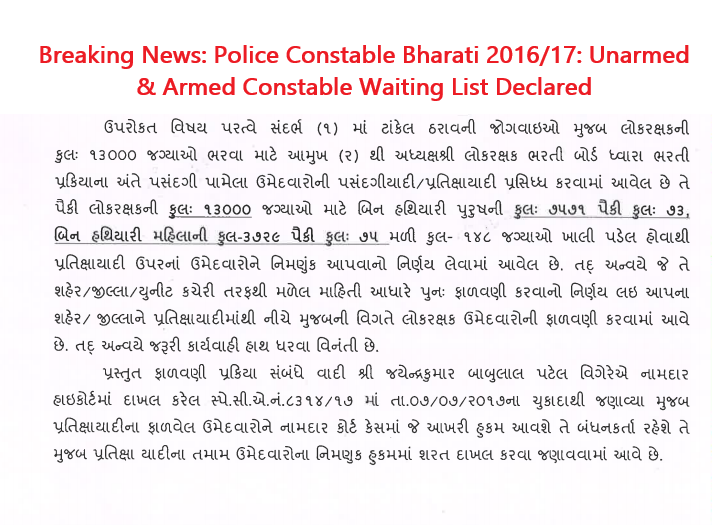 Police Constable Bharati 2016/17: Unarmed & Armed Constable Waiting List Declared