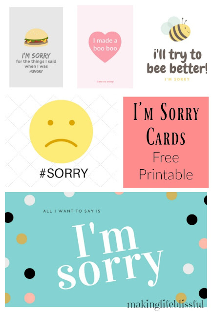 Making Life Blissful 10 Ways to Say Im Sorry Free Printable – Free Printable Sorry Cards
