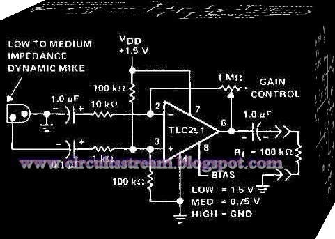 Using TLC251Microphone preamplifier Circuit Diagram