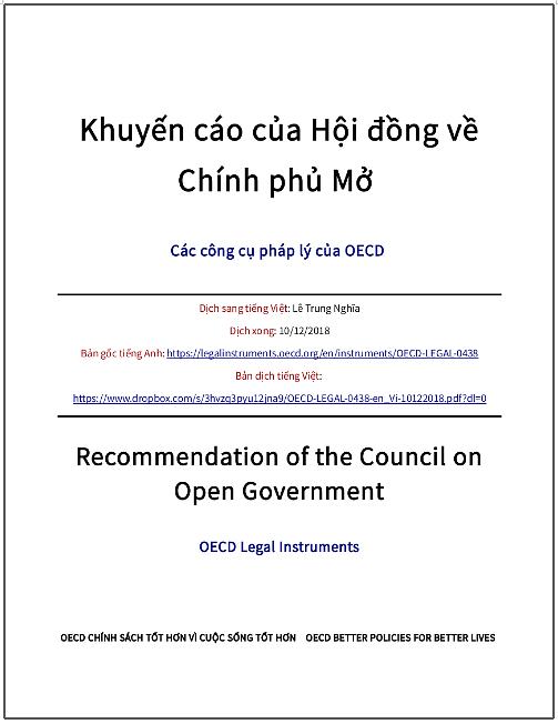 'Khuyến cáo của Hội đồng về Chính phủ Mở' - bản dịch sang tiếng Việt