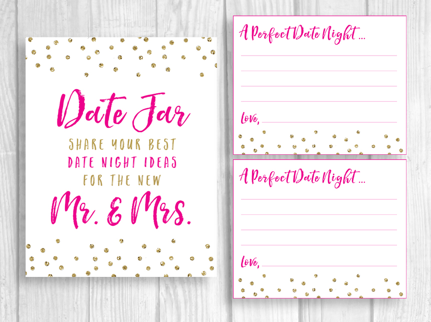Printable Date Jar 8x10 Bridal Shower Or Wedding Date Night Ideas For Mr Mrs Sign And 4x5 Cards Hot Pink And Gold Glitter Polka Dots