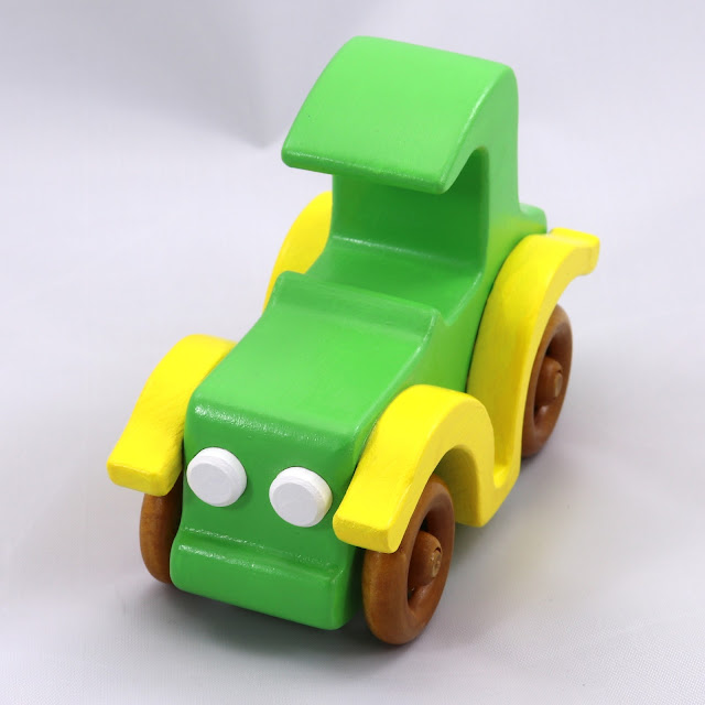 Handmade Wooden Toy Car -  Bad Bob Custom Motors Coupe - Green and Yellow