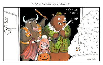 Halloween, the nature awakens, illustration, animaux, chasse, tauromachie, végétarisme