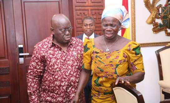 President Nana Addo consoling late journalists Mohammed Ashley's mother