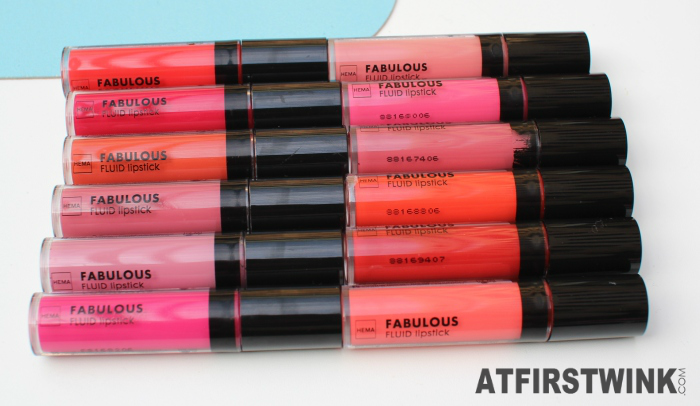 All 12 shades of the HEMA Fabulous liquid lipstick