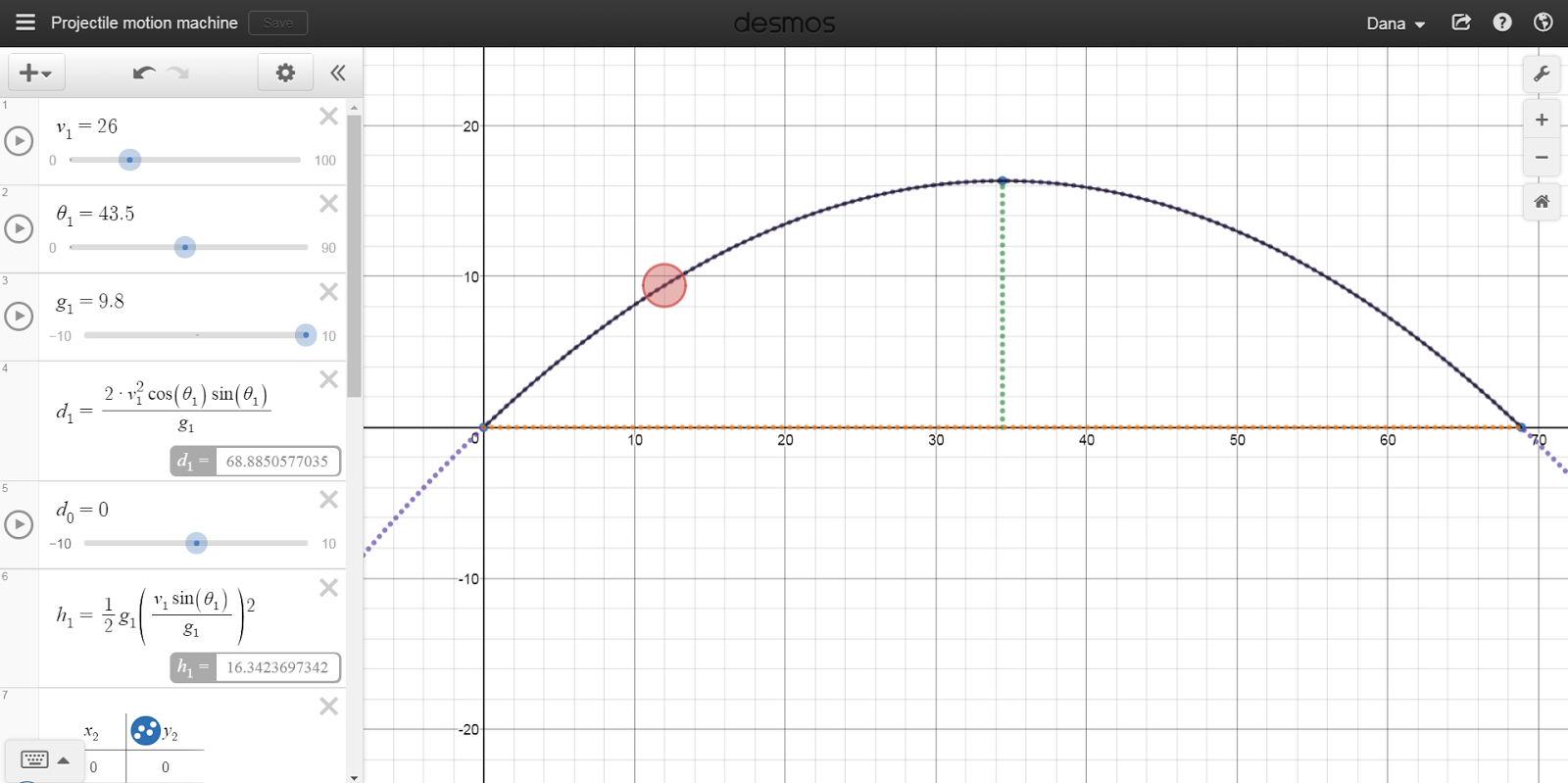 Projectile motion demonstrator in Desmos