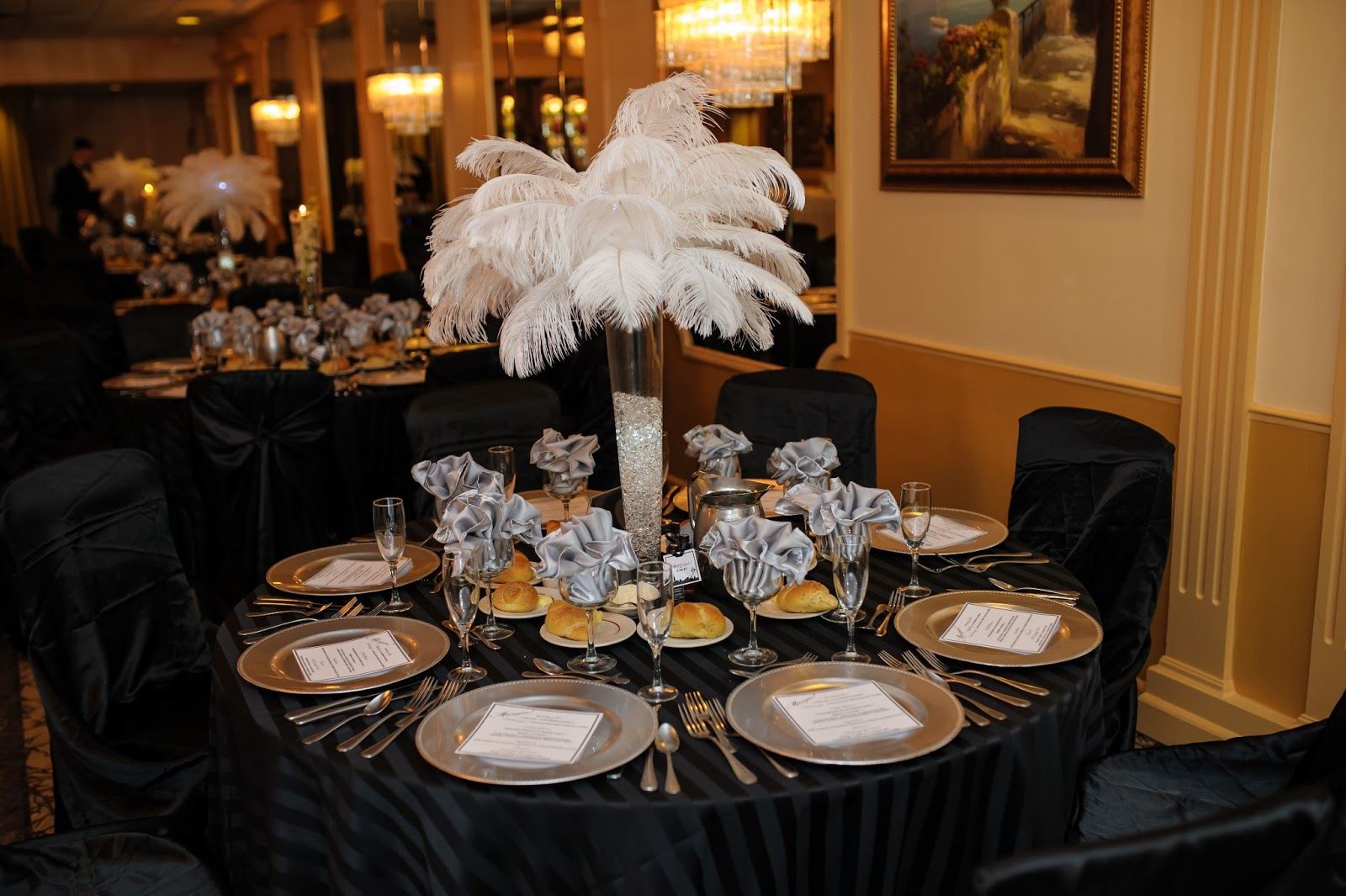 Fall Centerpieces With Feathers Catherine Scerbo Events 70 Years Young Frank Sinatra At