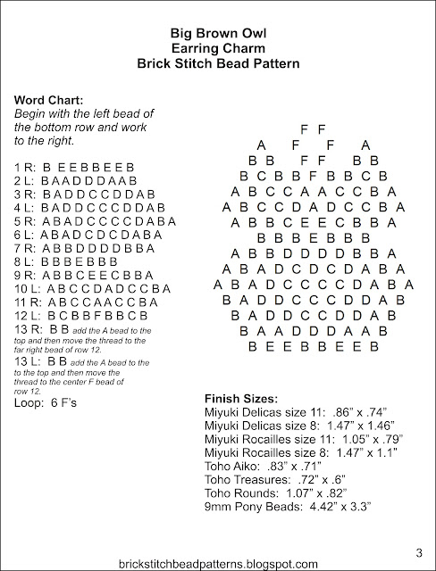 Free brick stitch seed bead earring pattern word chart.