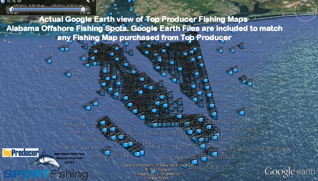 Alabama Digital Offshore Fishing Maps: Alabama Offshore