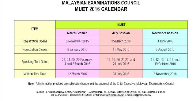 kalendar dan jadual peperiksaan muet 2016