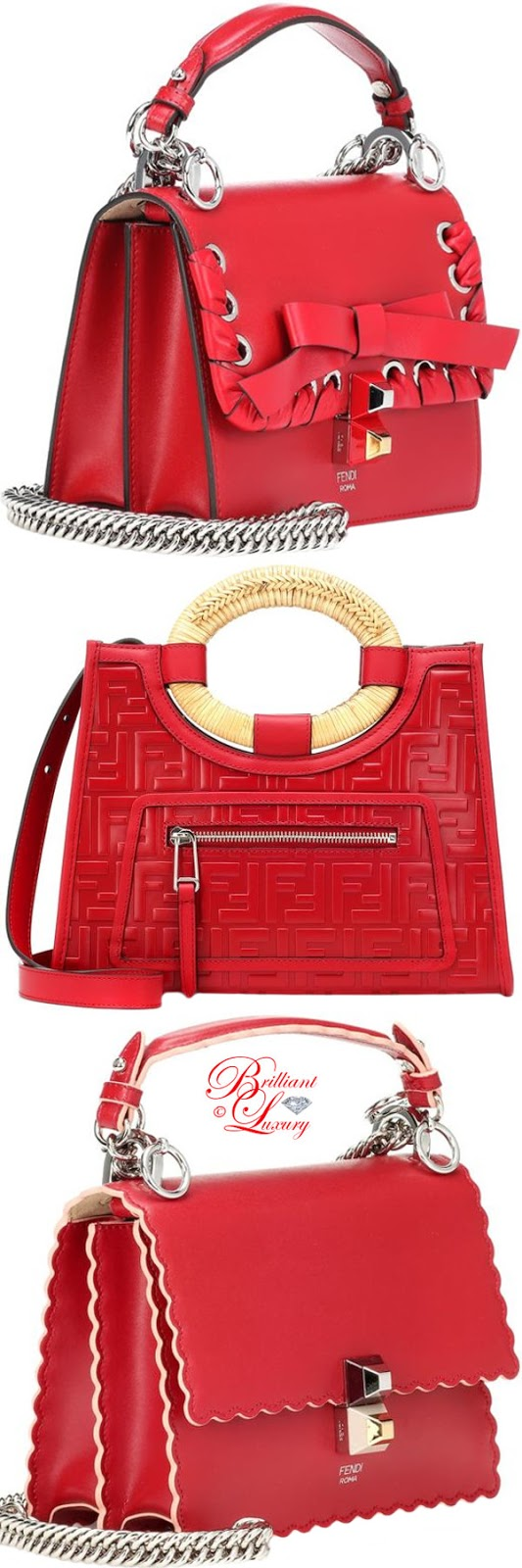Brilliant Luxury ♦ PANTONE Fashion Color SS 2019 ~ Fiesta ♦ Fendi Kani I and Runway leather totes #red
