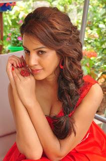 Actress Deeksha Panth Stills in Red Short Dress at Banthi Poola Janaki Press Meet  0055.jpg