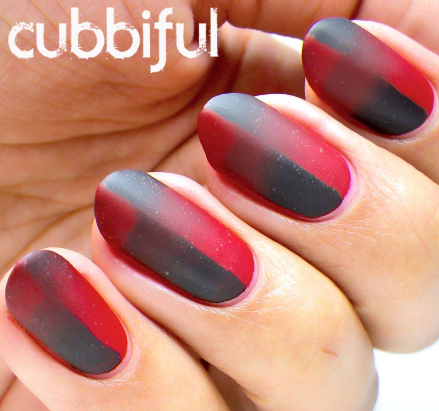 Red and Black Matte Scaled Gradient Nails